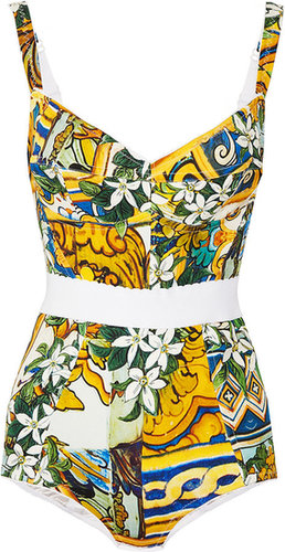 Dolce & Gabbana Floral-print stretch silk-blend bodysuit
