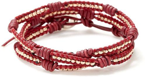 Red Leather & Rose Gold Wrap Bracelet