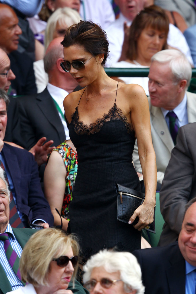 Victoria Beckham wore a lace slip dress to the men's grand final on July 7.