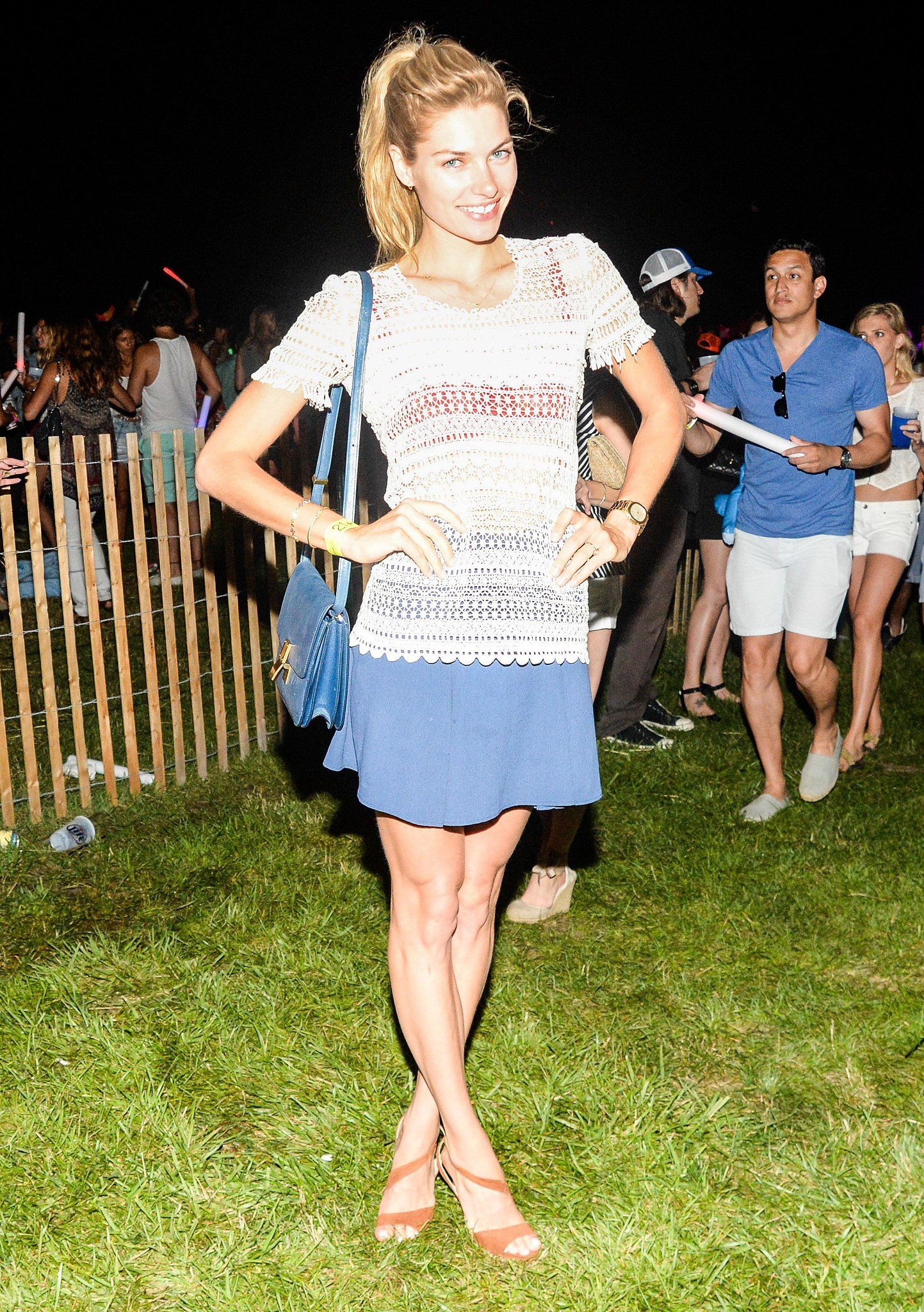 Jessica Hart dressed for the occasion in blue and white at Montauk's  Fourth of July weekend Shark Attack Sounds event.