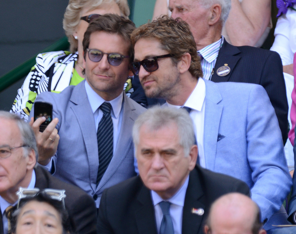 Gerard Butler and Bradley Cooper took a snap together at Wimbledon in July 2013.