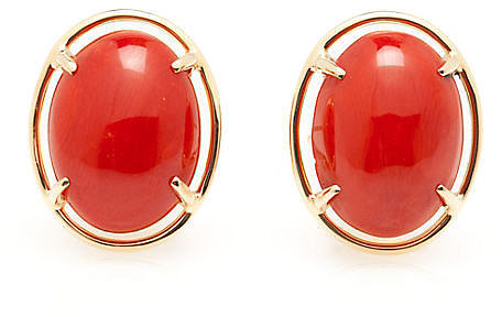 Red Coral Cabochon Earrings