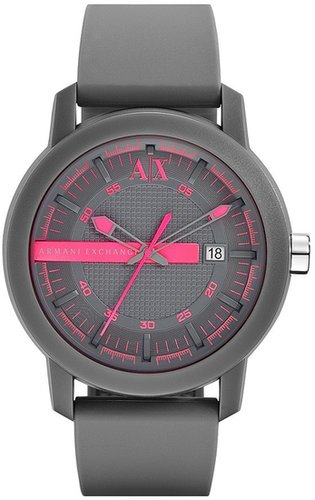 AX Armani Exchange Logo Bar Silicone Strap Watch, 44mm