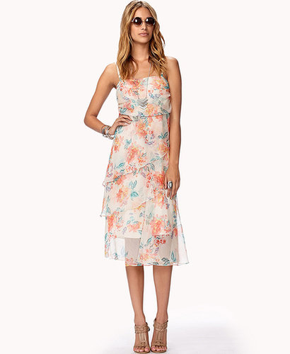 FOREVER 21 Layered Floral Print Maxi Dress