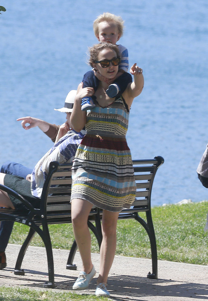 Natalie Portman gave her son, Aleph, a ride on her shoulders in LA.