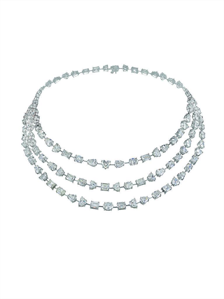 Fancy-cut white diamond necklace set in platinum. Source: Chopard