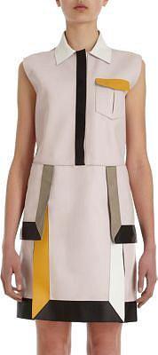 Fendi Colorblocked Leather Shirt Dress