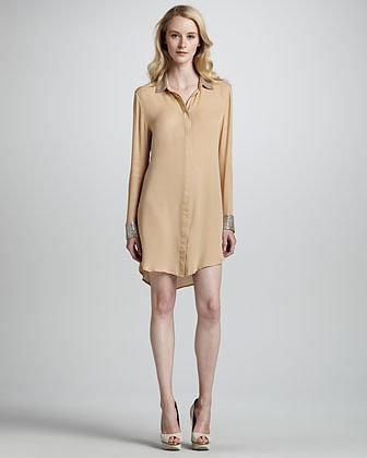 Haute Hippie Bead-Embellished Shirt Dress