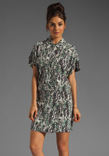 Tracy Reese Leaves Silk Print Blouson Shirtdress