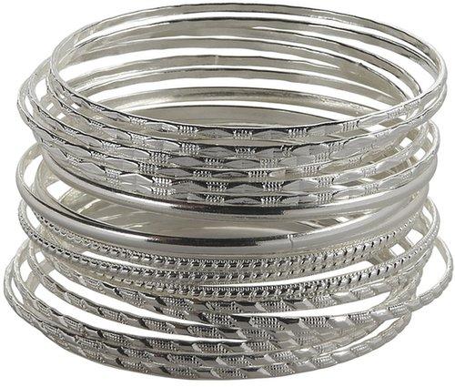Silver Bangle Bracelets 18-Pack