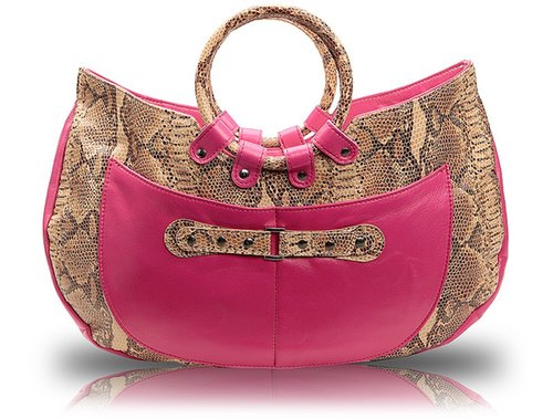 Javani  Ring Handle Tote Beige Snakeskin with Accent of Pink Lambskin