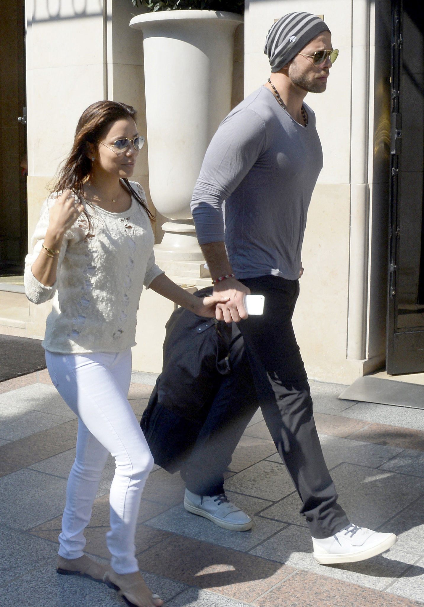 Eva Longoria and Ernesto Arguello walked hand in hand in Paris.