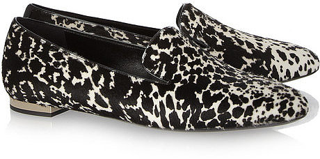 Burberry Prorsum Animal-print calf hair slippers