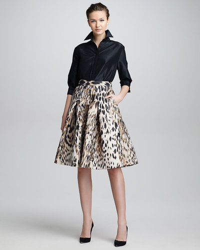 Carolina Herrera Animal-Print Jacquard A-Line Skirt