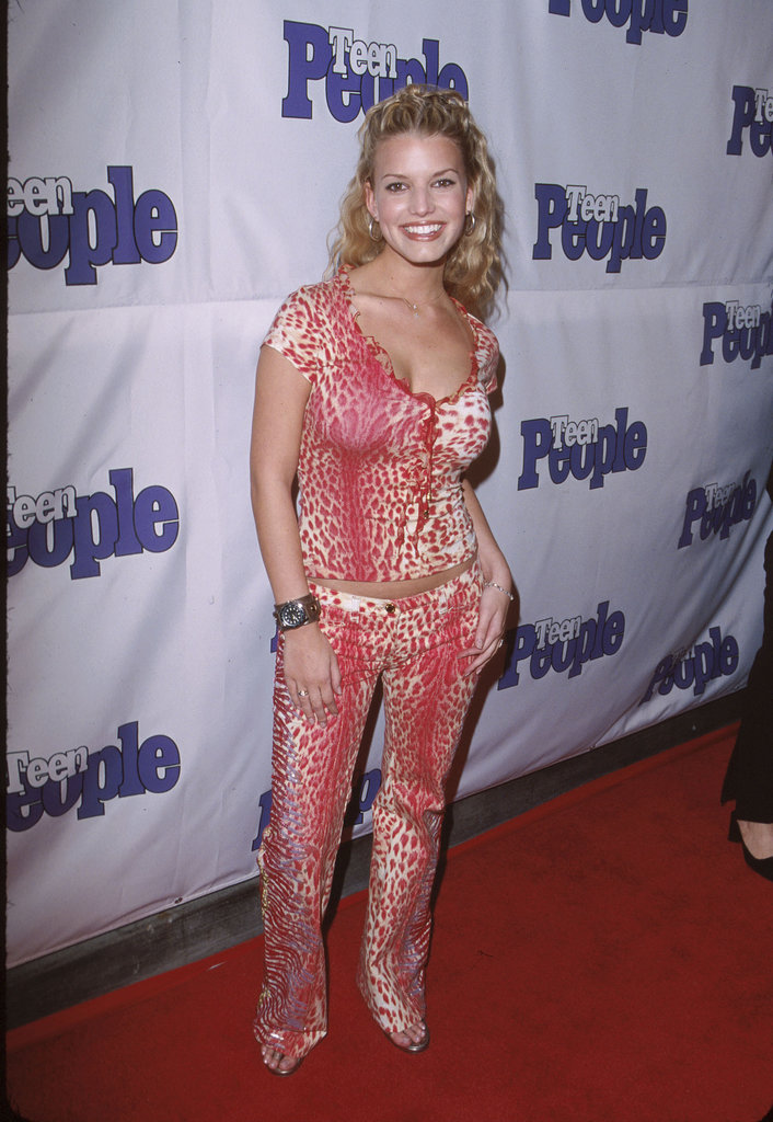 Jessica Simpson arrived at a Teen People event in January 2000 wearing head-to-toe pink animal print.