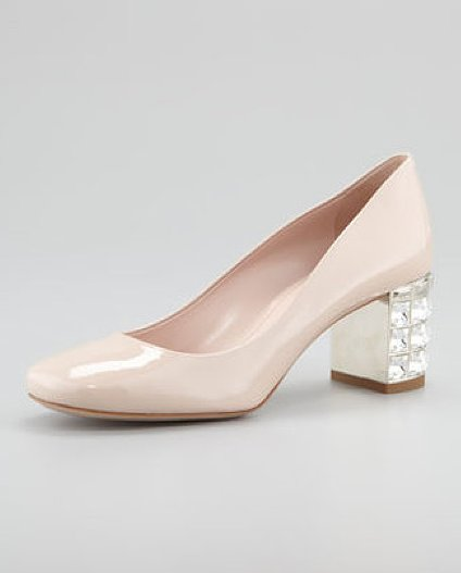 Leave it to Miu Miu to produce the perfect balance of classic round-toe and girlie glamour in one crystal-embellished patent pump ($895) package. Sure, this shoe may be a bit of a splurge, but we're pretty sure the decadent heel will provide the evening glamour so many of our cocktail dresses need — not to mention, the two-inch heel height is totally manageable.
