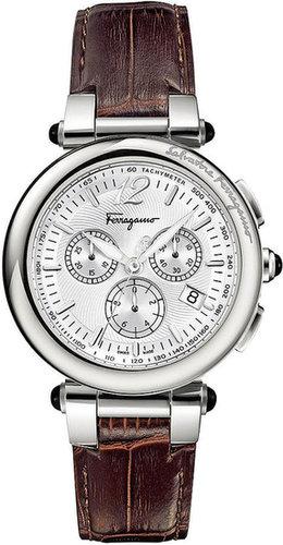 Ferragamo Watch, Men's Swiss Chronograph Idillio Brown Calfskin Leather Strap 42mm F77LCQ9902 SB25