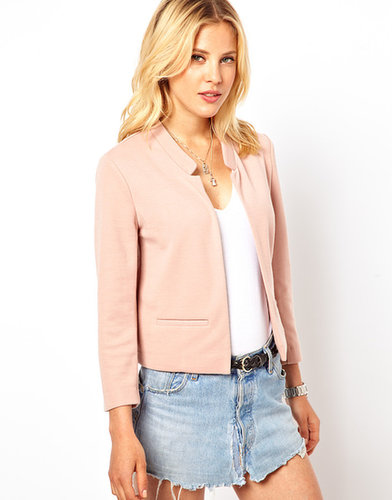 ASOS Cropped Blazer in Ponte with Notch Detail