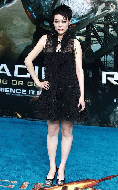 At the London premiere of Pacific Rim, Rinko Kikuchi was fashion forward in Chanel's ensemble, which featured an organza vest.  Source: Chanel