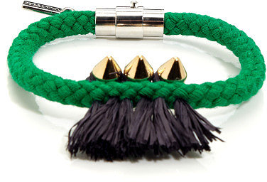 Vanities Three Spikes & Raffia On Rope Bracelet