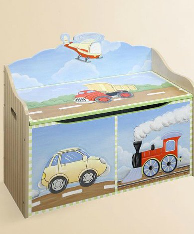 Planes, trains, and automobiles! Teamson's Transportation Toy Box ($138) is perfect for your little guy on the go.