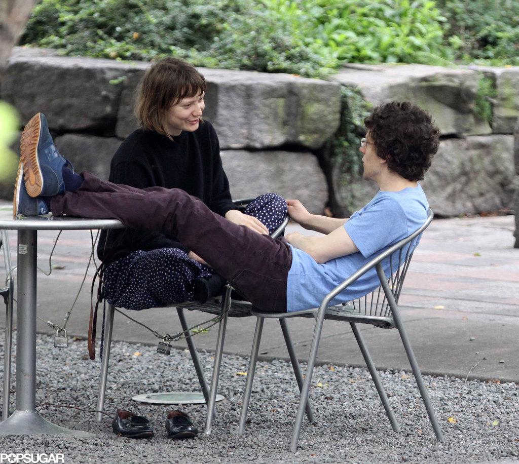 Jesse Eisenberg and Mia Wasikowska got romantic in a Toronto park.