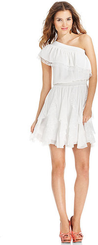Jessica Simpson Dress, Cap-Sleeve One-Shoulder Lace Tiered
