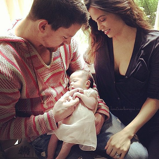 Channing and Jenna posed with their newborn daughter, Everly, a few weeks after her birth in June. Source: Facebook user Channing Tatum