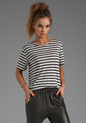 T by Alexander Wang Linen Stripe Tee in Ink/Ivory