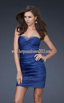 Royal Blue Strapless Short Prom Dresses