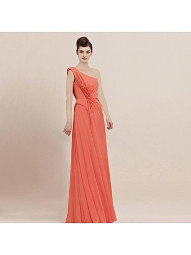 Orange One Shoulder Ruffle Chiffon Bridesmiad Prom Dress PD30050