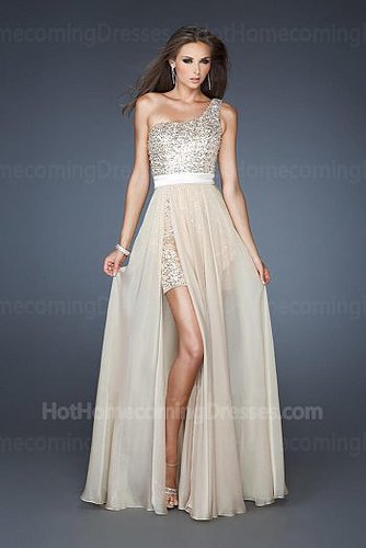 Sequined One Shoulder Champagne Fashion Homecoming Dress On Sale