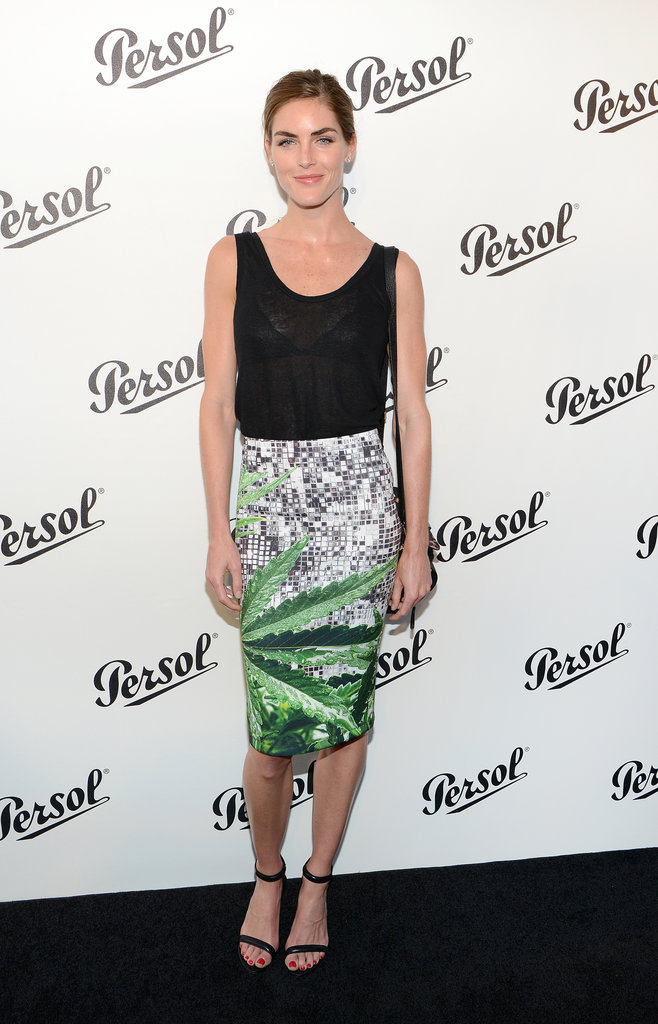 Hilary Rhoda tucked a basic black tank into a printed pencil skirt by Clover Canyon and stuck to on-trend ankle-strap sandals at a Persol party in NYC.