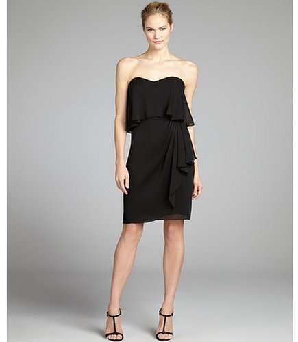 Hayden black crepe chiffon strapless pleated dress