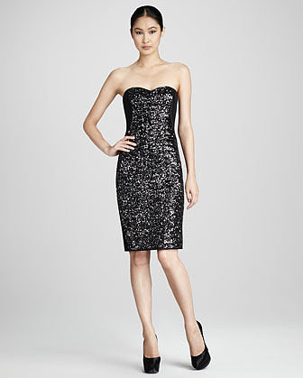 Notte by Marchesa Strapless Sequined Cocktail Dress