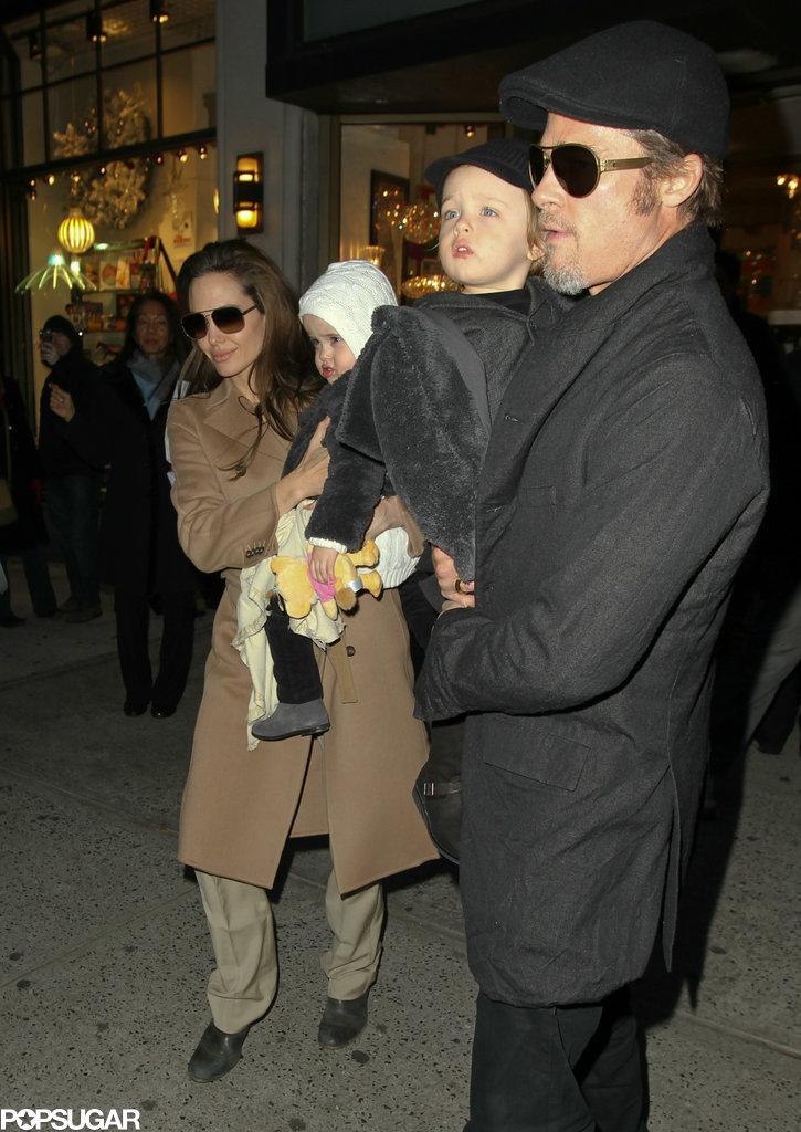 Brad Pitt and Angelina Jolie brought Knox Jolie-Pitt and Vivienne Jolie-Pitt to NYC in December 2010.