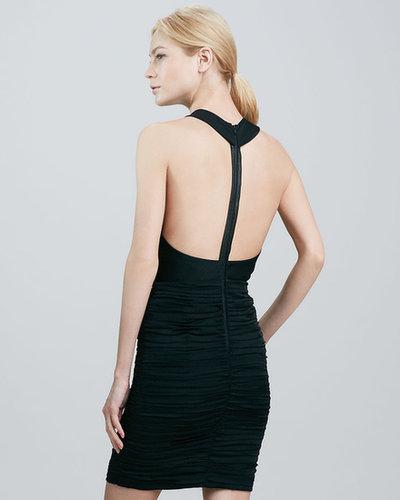 Alice + Olivia Elaina Leather-T-Back Dress