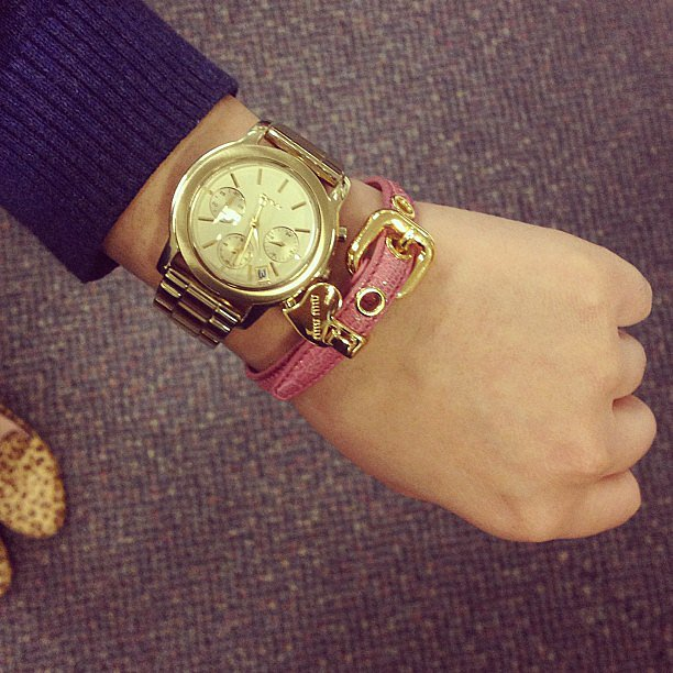 Now this is an arm party we'd like to be invited to! Jess' DKNY watch and Miu Miu leather cuff were a perfect pair this week.