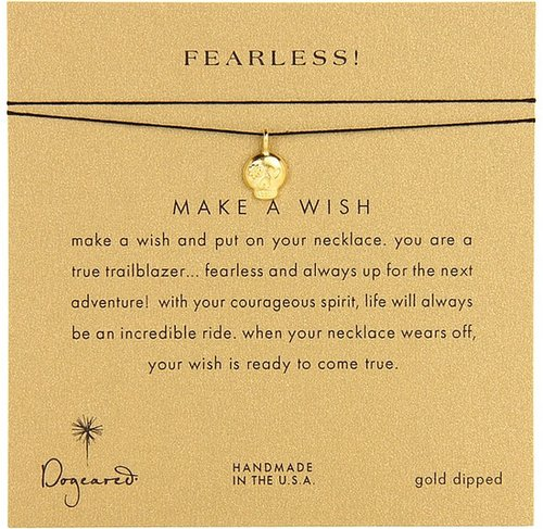 Dogeared Jewels - Make A Wish Fearless Necklace (Gold Dipped/Black) - Jewelry