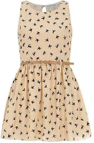 Cream belted bird Dress