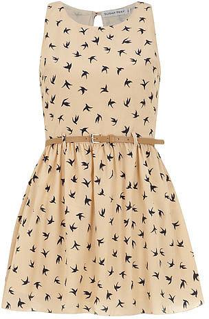 Cream belted bird Dress