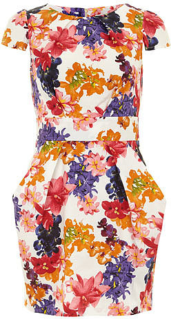 Multi floral tie back dress