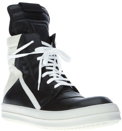 Rick Owens bi-colour hi top sneaker