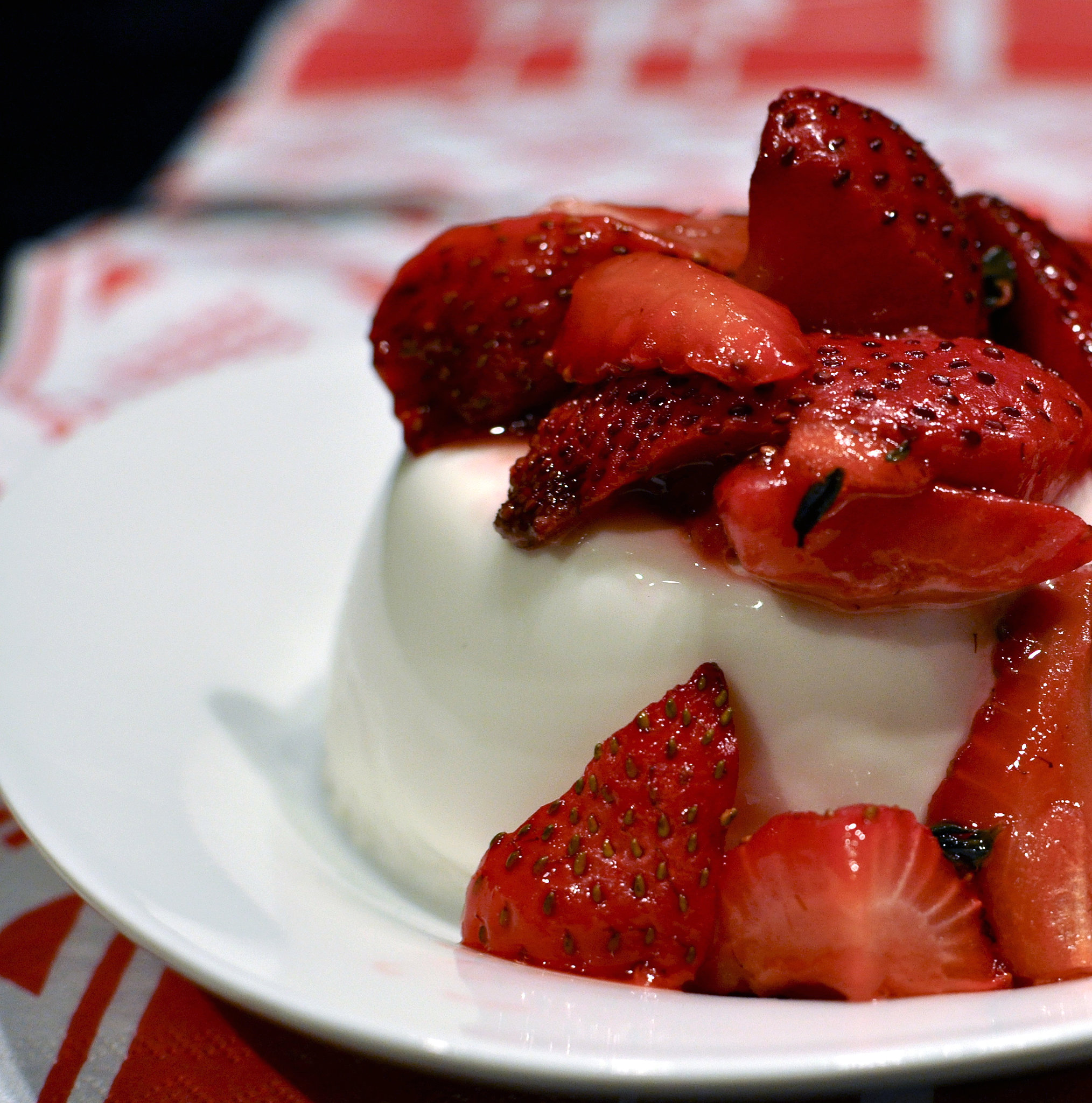 Roasted Strawberry Thyme Panna Cotta