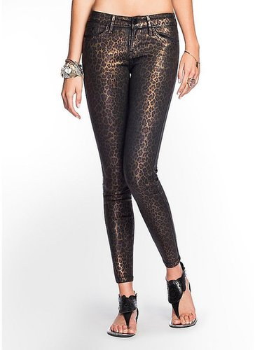 Brittney Coated Leopard-Print Denim Leggings