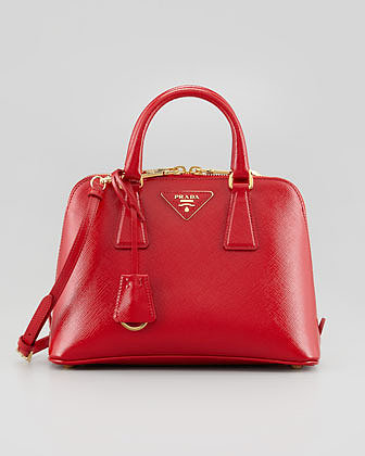 Prada Saffiano Vernice Promenade Crossbody Bag, Red