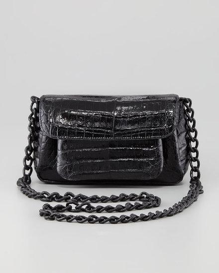 Nancy Gonzalez Crocodile Compartmentalized Crossbody Bag, Black