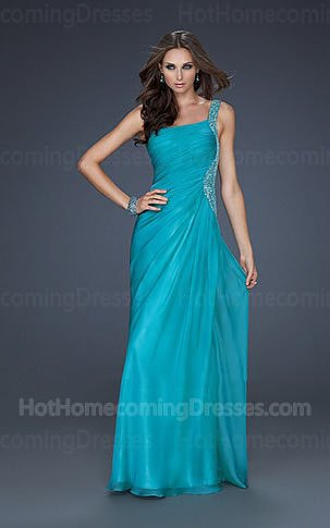 One Shoulder Beaded Blue Sequin Long Homecoming Dresses 2013