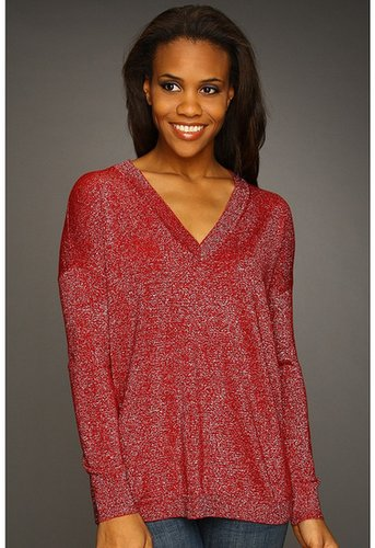 Jones New York - Lurex Jersey L/S V-Neck Tunic (Scarlet) - Apparel