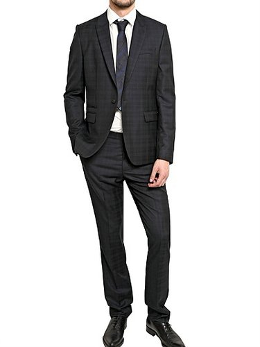 One Button Checked Wool Suit